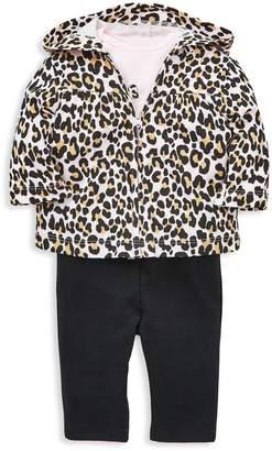 Little Me Baby Girl's 3-Piece Leopard-Print Cotton Hoodie, Bodysuit Leggings Set