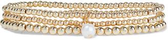 Shashi Fort Knox Set Of Three 18-karat Gold-plated Faux Pearl Bracelets