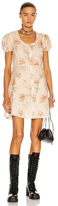 R 13 Babydoll Mini Dress in Beige