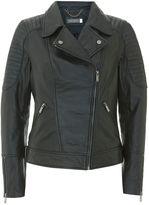 Mint Velvet Black Stitch Washed Biker Jacket