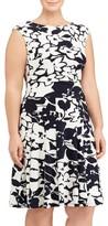 Lauren Ralph Lauren Plus Size Women's Floral Jersey Fit & Flare Dress