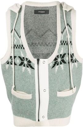 Gr Uniforma Geometric Knit Hooded Sleeveless Jumper