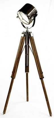 One World Floor Tripod Focus Lamp Natural/nickel