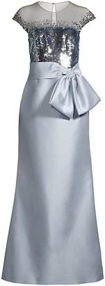 Sachin + Babi Aliza Sequin Bow Gown