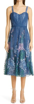 Marchesa Notte Embroidered Mesh Midi Cocktail Dress