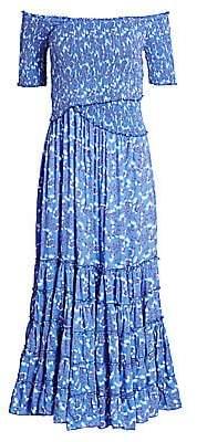 Poupette St Barth Women's Soledad Off-Shoulder Floral Midi Dress