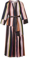 Apiece Apart Stella Striped Linen And Silk-blend Midi Dress - Midnight blue