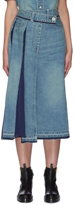 Sacai Contrast panel asymmetric pleat denim skirt