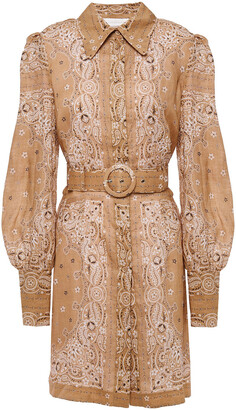 Zimmermann Belted Printed Linen Mini Shirt Dress