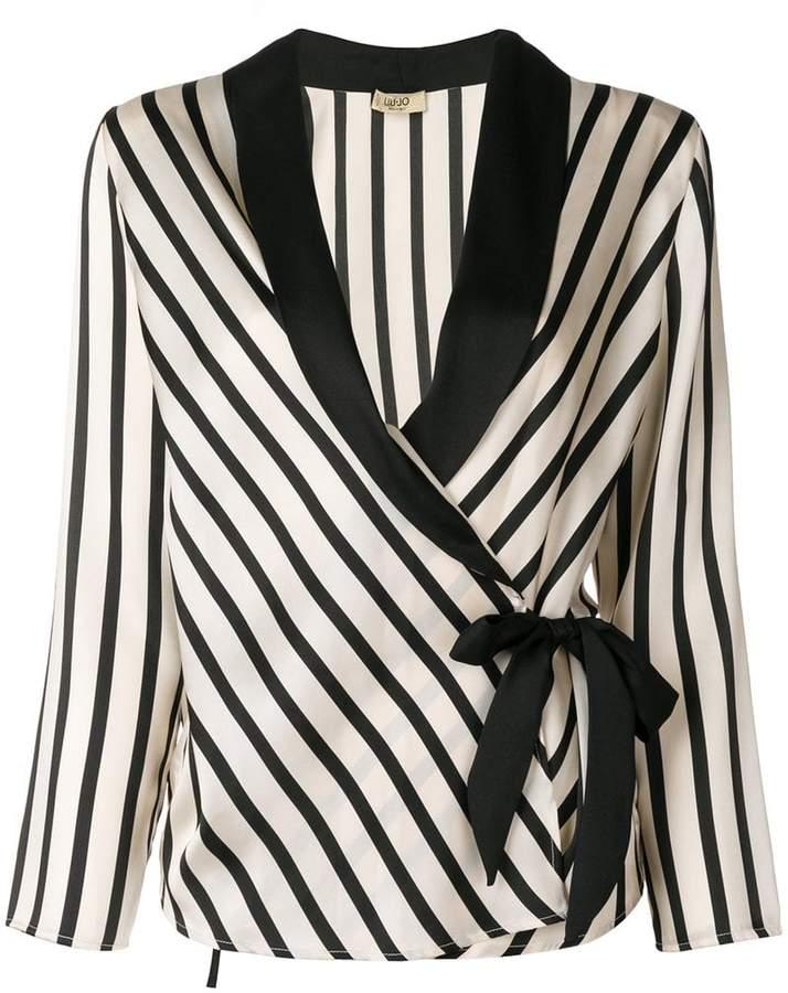 Liu Jo striped waist-tied jacket