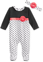First Impressions Baby Girls' 2-Pc. Velour Headband & Dot-Print Footed Coverall Set, Only at Macy's
