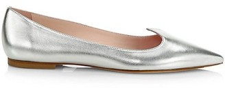 Roger Vivier I Love Vivier Metallic Leather Flats