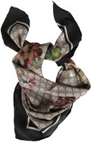 Gucci Gg Blooms Print Silk Scarf With Black Border