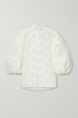 Zimmermann Brightside Appliqued Embroidered Linen And Silk-blend Tulle Blouse - Ivory