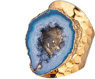 Eye Candy Los Angeles Eye Candy La Intoxicated Blue Drusy Geode Stone Textured Gold P