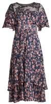 Rebecca Taylor Tea Rose lace-yoke silk and cotton-blend dress