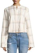 Derek Lam 10 Crosby Wide-Sleeve Grid-Print Cropped Cotton Shirt