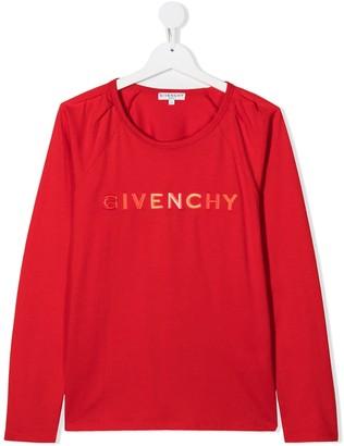 Givenchy Kids TEEN logo print long sleeved T-shirt