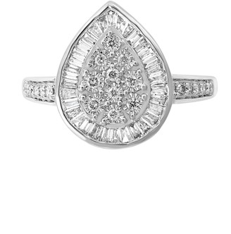 Effy 14K White Gold & Diamond Pear-Shaped Ring