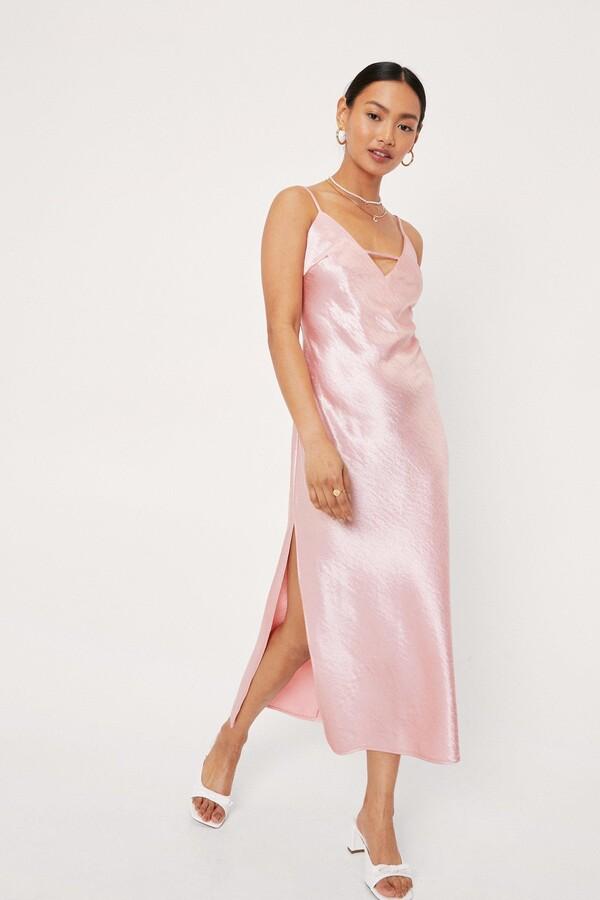 Thumbnail for your product : Nasty Gal Womens Petite Strappy Satin Slit Midi Dress - Orange - 6
