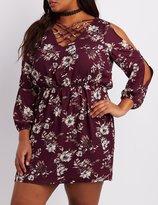 Charlotte Russe Plus Size Floral Lattice Cold Shoulder Dress