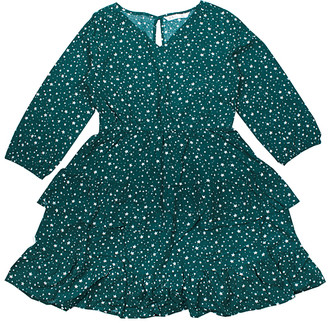 Aeropostale p.s. from Girls' Casual Dresses GREDK - Dark Green Star Ruffle Surplice Dress - Girls