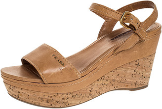 Prada Tan Leather Cork Wedge Ankle Strap Open Toe Sandals Size 38