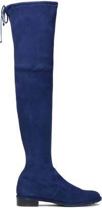 Stuart Weitzman Bow-detailed Stretch-suede Thigh Boots