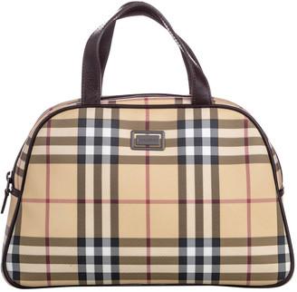Burberry Brown House Check Canvas Satchel Bag