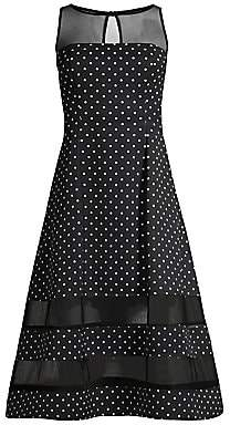 Aidan Mattox Women's Polka Dot & Sheer Detail Dress