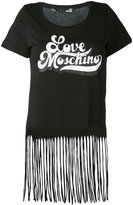 Love Moschino fringed retro logo T-shirt - women - Cotton - 38