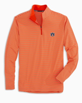 Southern Tide Auburn Tigers Striped Quarter Zip Pullover