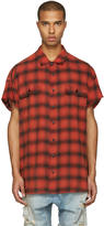 R 13 Red Oversized Cut Off Shirt