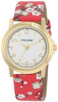 Pedre Women's 0231GX Gold-Tone/ Red Asian Floral Strap Watch