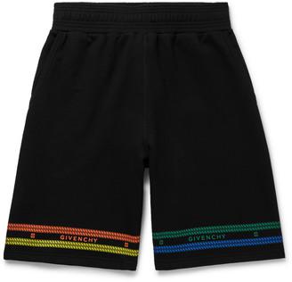Givenchy Wide-Leg Logo-Print Loopback Cotton-Jersey Shorts