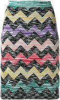 Missoni zigzag print straight skirt - women - Nylon/Rayon/Wool - 42
