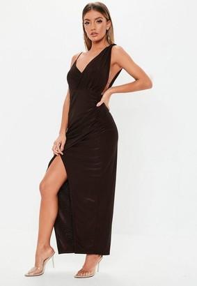 Missguided Chocolate Brown Slinky Asymmetric Maxi Dress