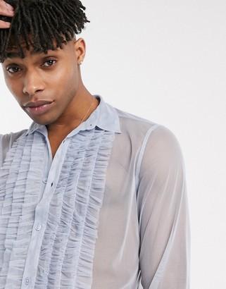 Asos DESIGN regular fit ruffle front mesh shirt in light blue