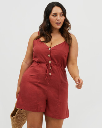 You & All Button Front Linen Playsuit