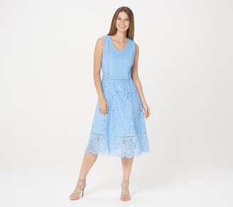 Isaac Mizrahi Live! Petite V-Neck Floral Knit Lace Midi Dress
