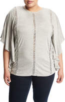 Cirana Plus Lace-Inset Jersey Poncho, Gray, Plus Size