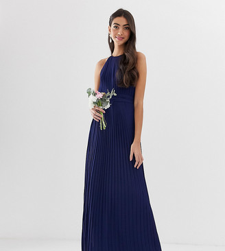 TFNC Tall bridesmaid exclusive high neck pleated maxi dress in navy