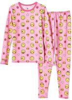 Cuddl Duds Girls 4-12 Smiley Face Long-Sleeved Tee & Leggings Set