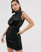 Katch Me Katchme satin ruched mini dress in black