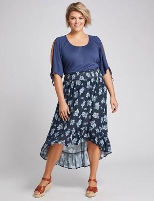 Lane Bryant Smocked-Waist High-Low Maxi Skirt