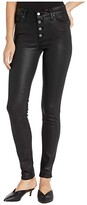 Paige Hoxton Ultra Skinny w/ Exposed Button Fly in Black Fog Luxe Coating (Black Fog Luxe Coating) Women's Jeans