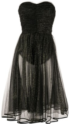 Elisabetta Franchi Sweetheart Neck Glitter Dress
