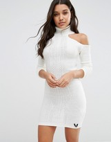 Lipsy High Neck Knitted Dress With Cold Shoulder