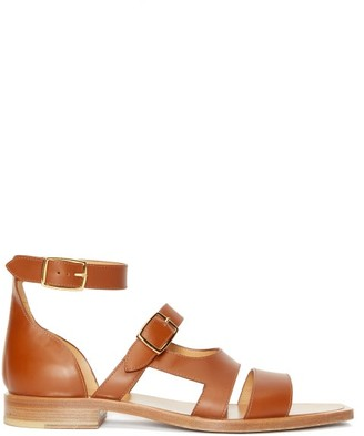 Fendi Square-toe Buckled Leather Sandals - Brown
