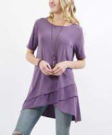 Lydiane Women's Tunics LILAC - Lilac Gray Crewneck Short-Sleeve Chiffon Ruffle Tunic - Women & Plus